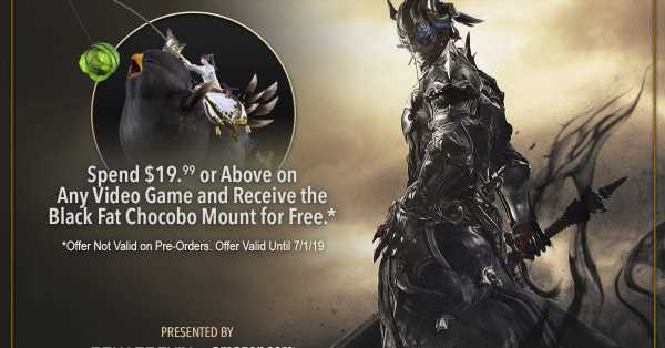 Amazon offers FF14 Online Black Fat Chocobo mount free with $19.99 video game purchase