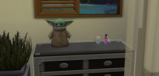 A strangely lifeless Baby Yoda is now in The Sims 4