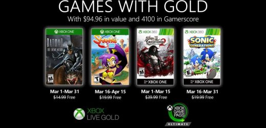 Xbox One Games With Gold For March 2020 Revealed