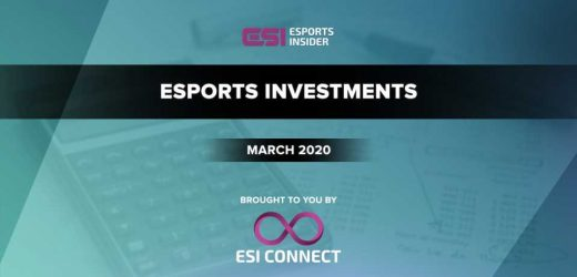 $13.8M raised in disclosed esports investments in March 2020