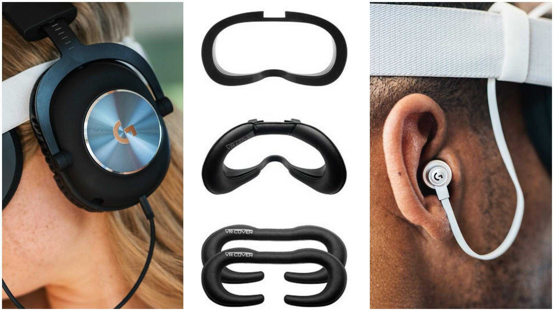 Quest 2 Third-party Accessories: Two Logitech Headphones, VR Cover Facial Interface