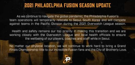 Philadelphia Fusion playing in Seoul, Pacific Division for 2021