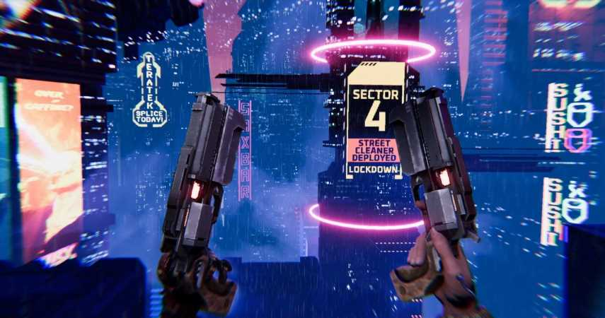 Turbo Overkill Is The Upcoming Cyberpunk Shooter Where You Wallrun With A Chainsaw Leg