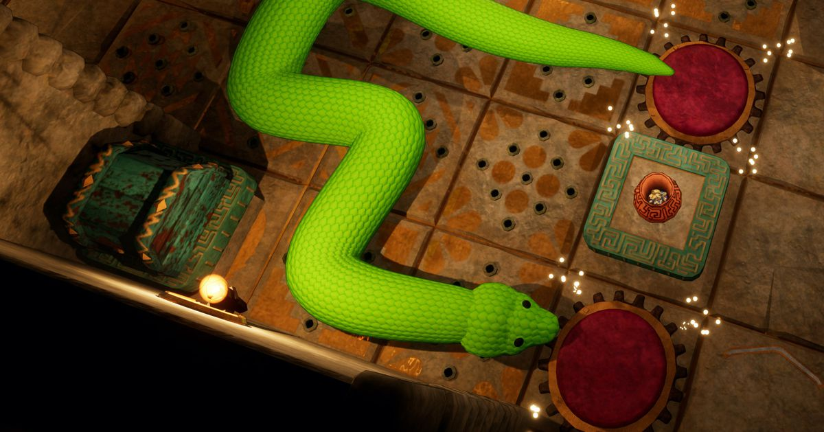 There's nothing cuddly about this Woolly World version of Snake